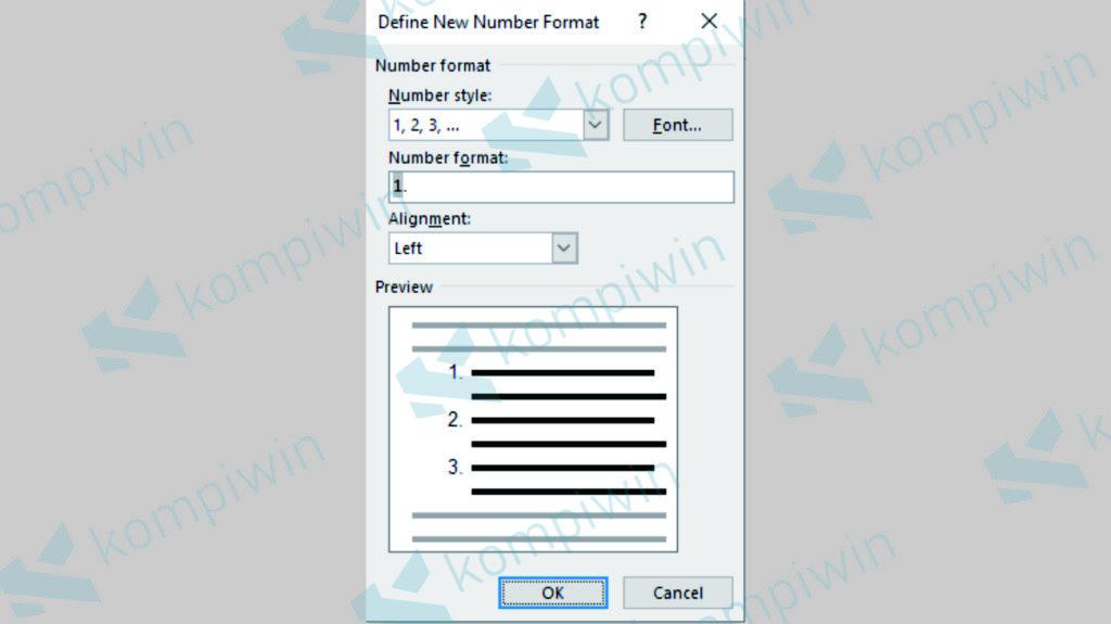 Pilih Menu Define New Number Format untuk Mengatur Numbering Lebih Advanced