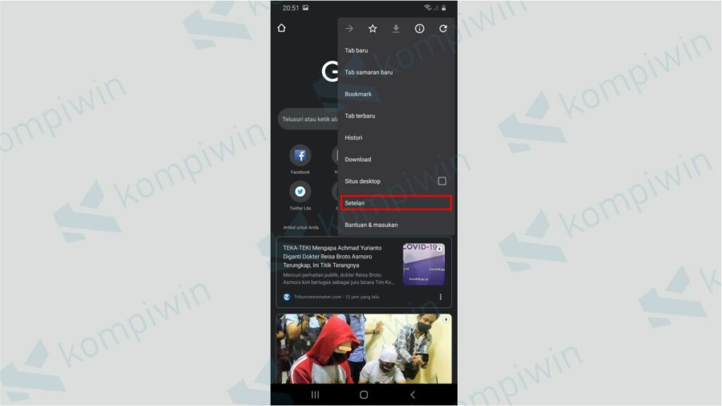Pilih Menu Setelan - Cara Mematikan Notifikasi Chrome di Ponsel