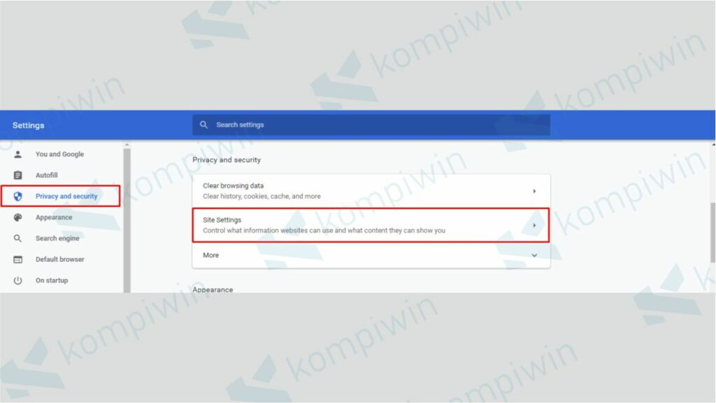 Pilih Privacy and security kemudian Site Settings - Cara Menonaktifkan Notifikasi Chrome