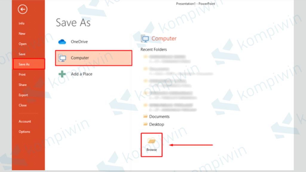 Pilih Save As dan Klik Browser - Mengubah PPT Menjadi Gambar