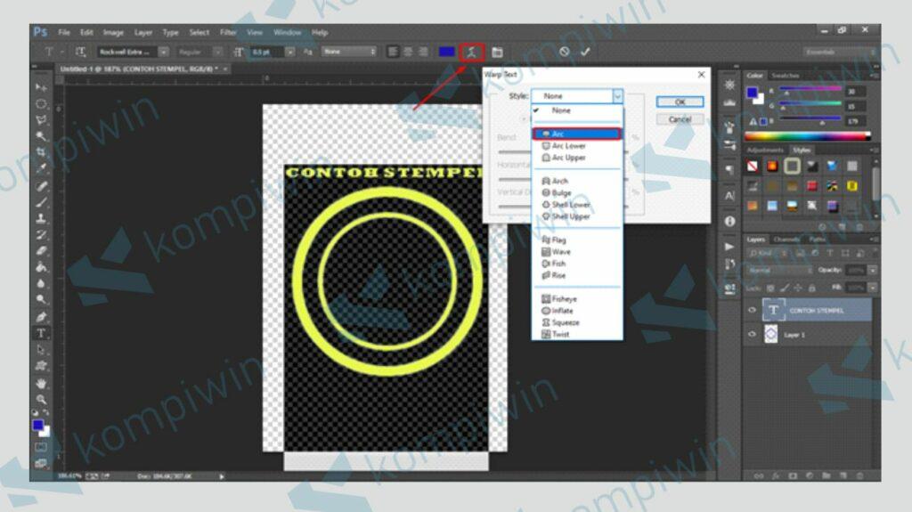Pilih Style Arch untuk Membuat Tulisan Melengkung - Kompiwin