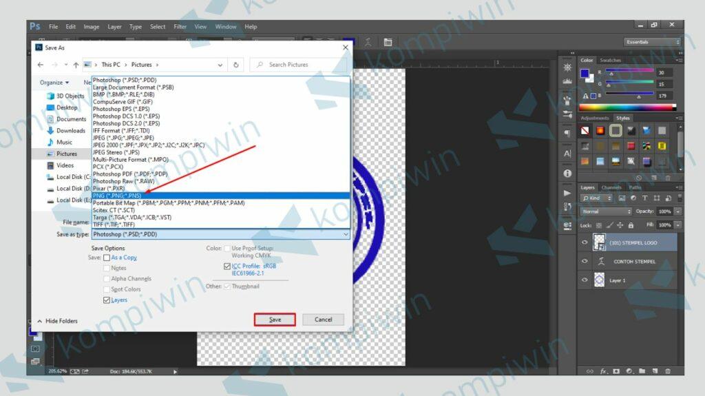 Simpan Stempel dengan Format PNG - Kompiwin
