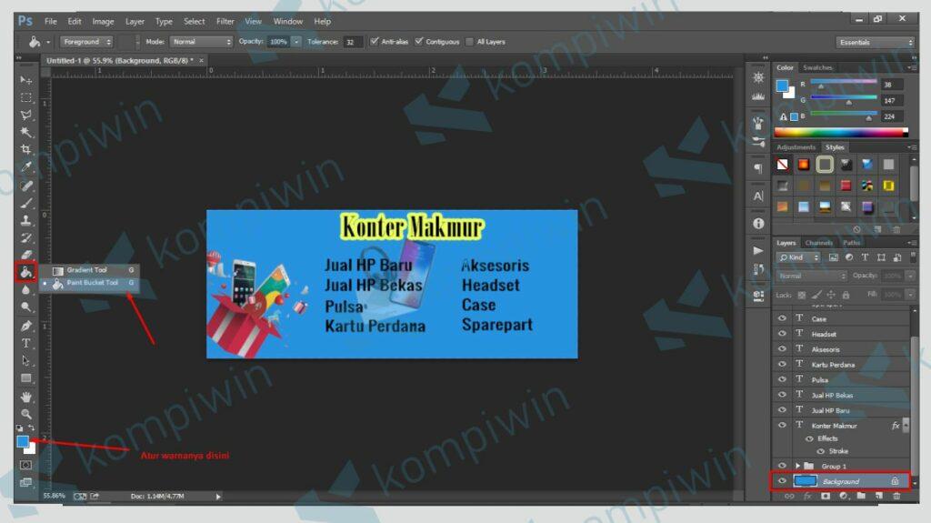 Atur Background Banner - Cara Membuat Banner di Photoshop
