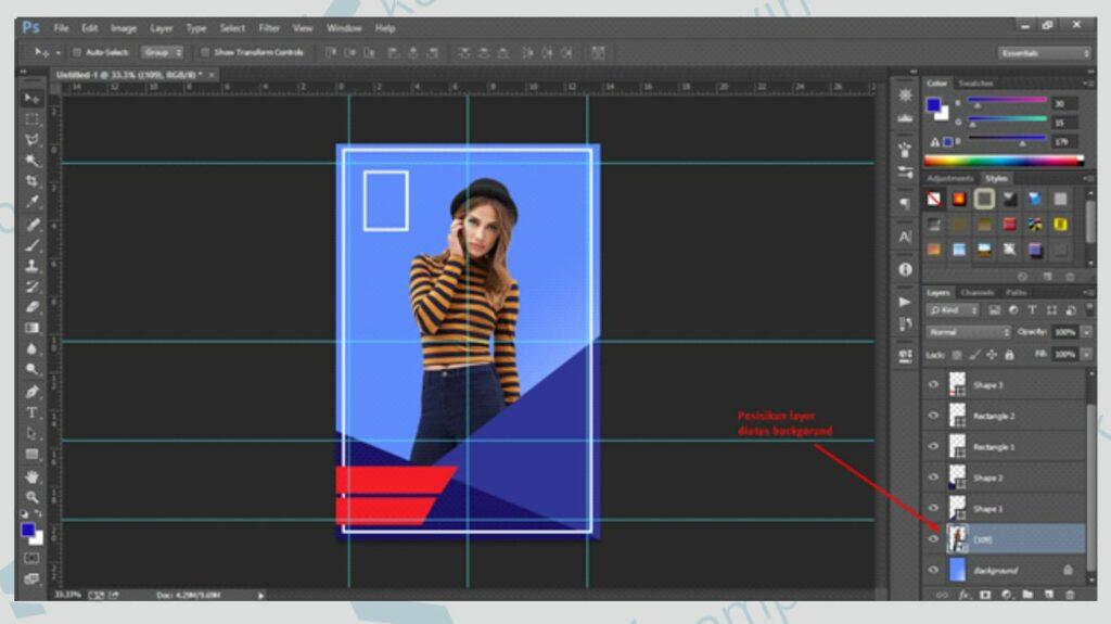 Atur Layer Obyek Gambar - Cara Membuat Poster di Photoshop