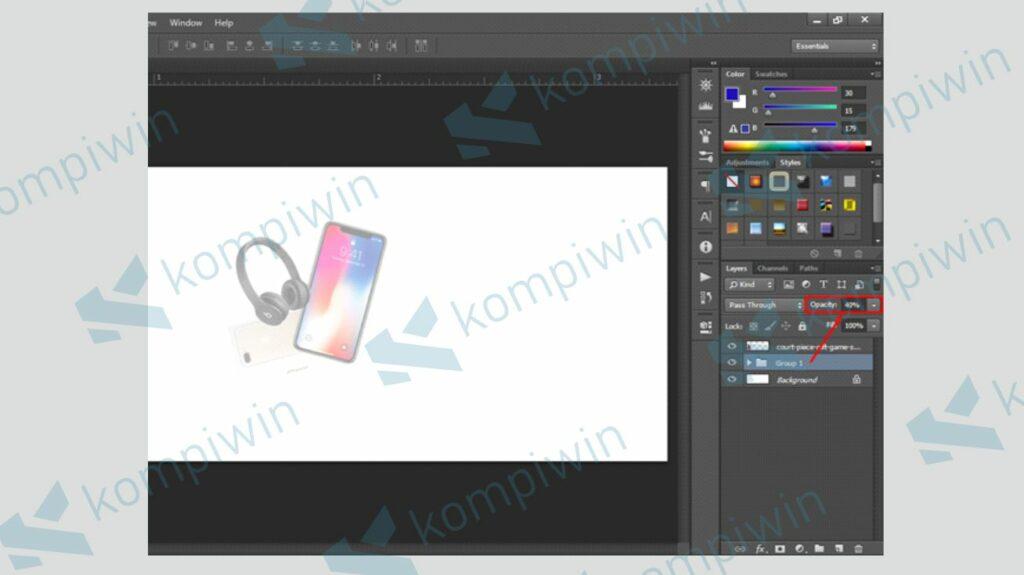 Atur Level Opacity Gambar - Cara Membuat Banner di Photoshop