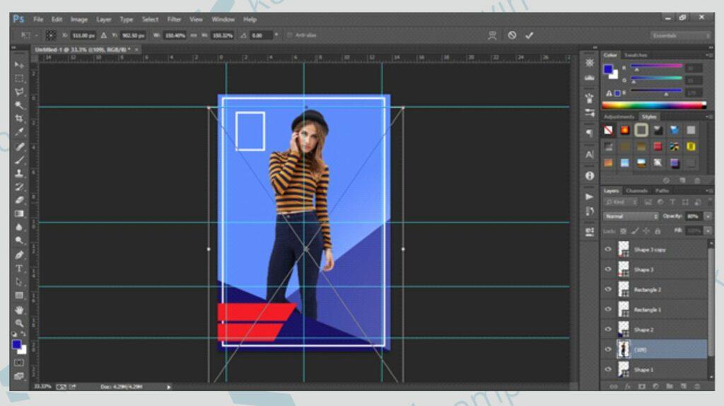 Atur Posisi Obyek Gambar - Cara Membuat Poster di Photoshop