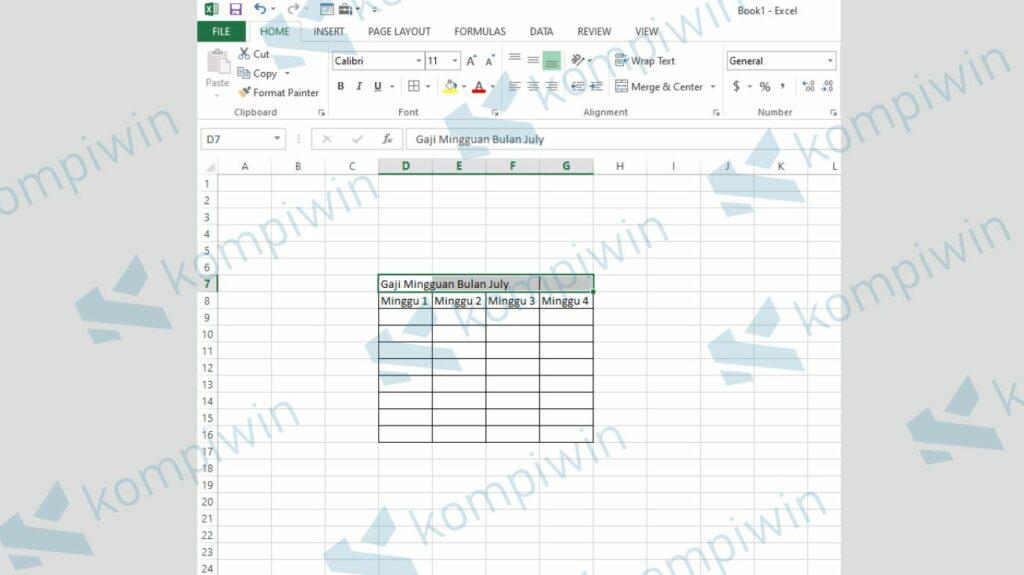 Blok Excel yang Akan Digabung - Fungsi Merge dan Unmerge Cells