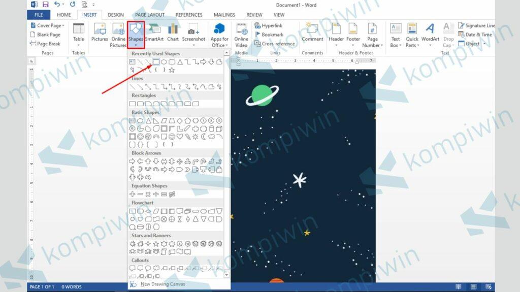 Buar Frame Luar dengan Rectangle - Cara Membuat Poster dengan Microsoft Word