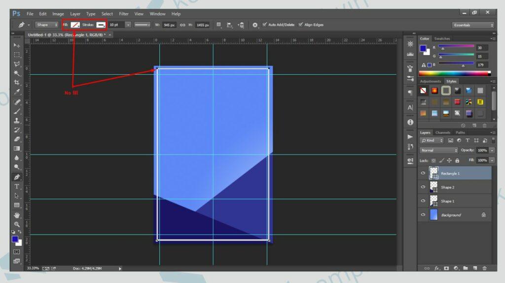Buat Bentuk Kotak dengan Rectangle Tool - Cara Membuat Poster di Photoshop