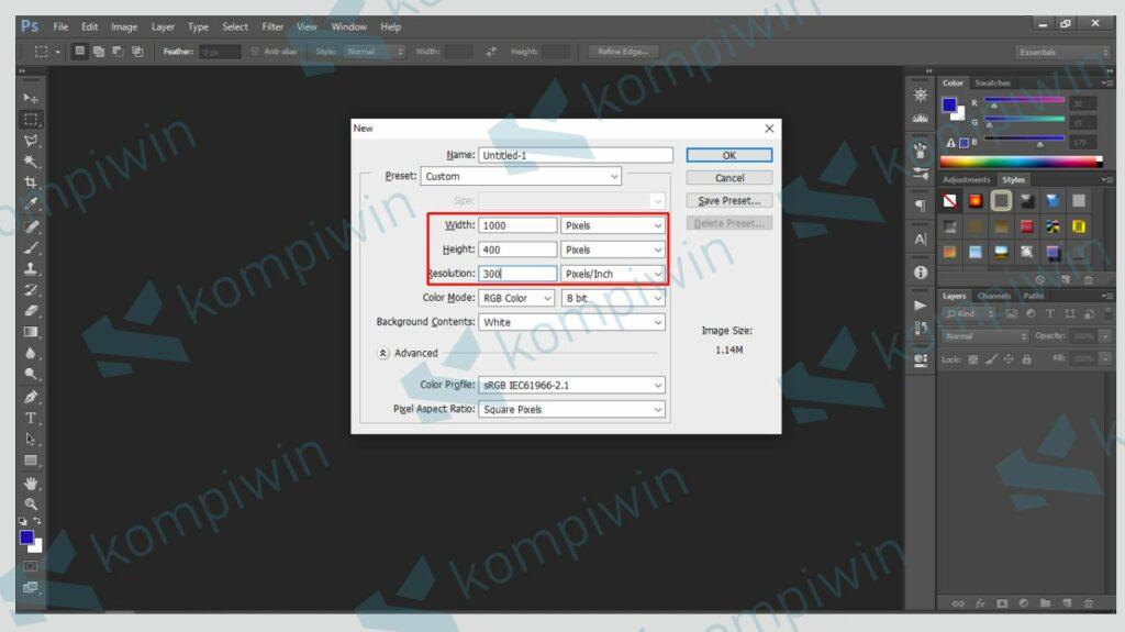 Buat Dokumen Baru di Photoshop - Cara Membuat Banner di Photoshop