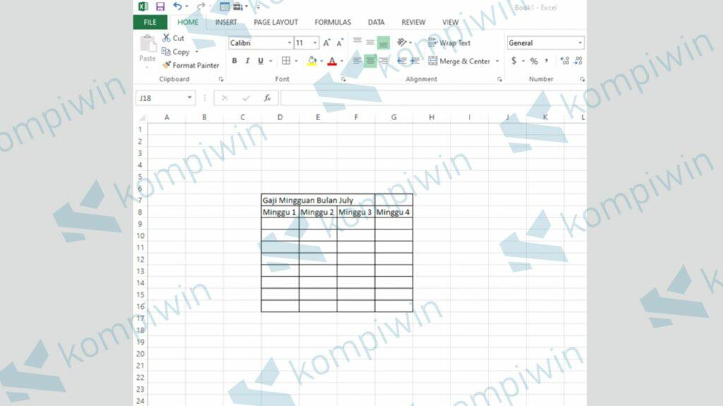 Contoh Kolom Excel yang Akan Digabung - Fungsi Merge dan Unmerge Cells