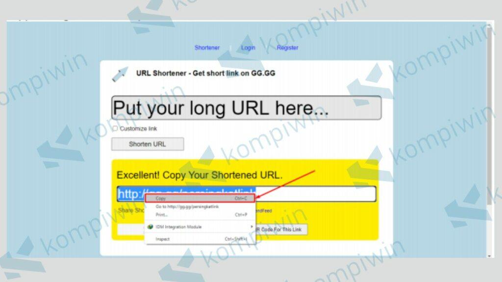 Copy Hasil Shorten Url dari gg.gg - Kompiwin
