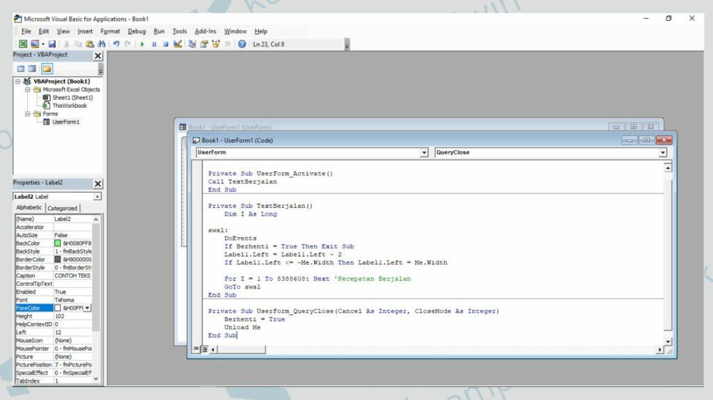 Copy Kodingan ke Kotak Code - Cara Membuat Running Text di User Form Excel