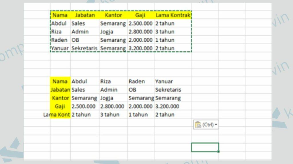 Data Row Sudah Menjadi Column