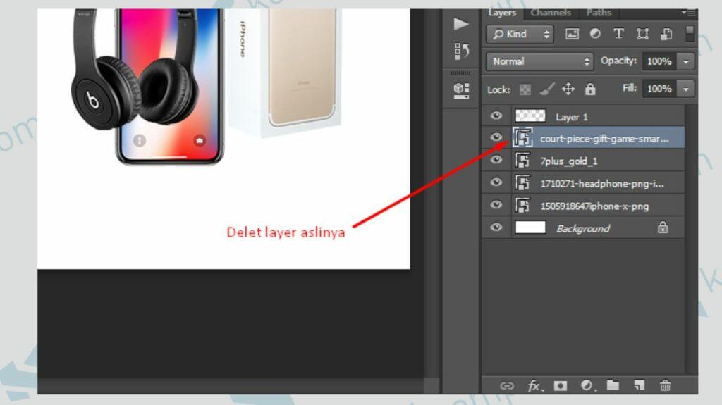 Delete Layer Aslinya - Cara Membuat Banner di Photoshop