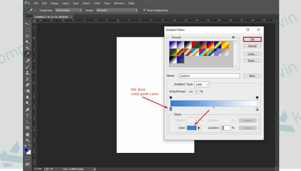 Ganti Background dengan Gradient Tool - Cara Membuat Poster di Photoshop