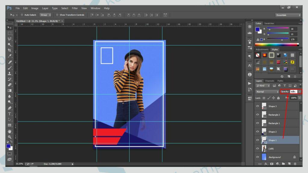 Gunakan Efek Transparan - Cara Membuat Poster di Photoshop