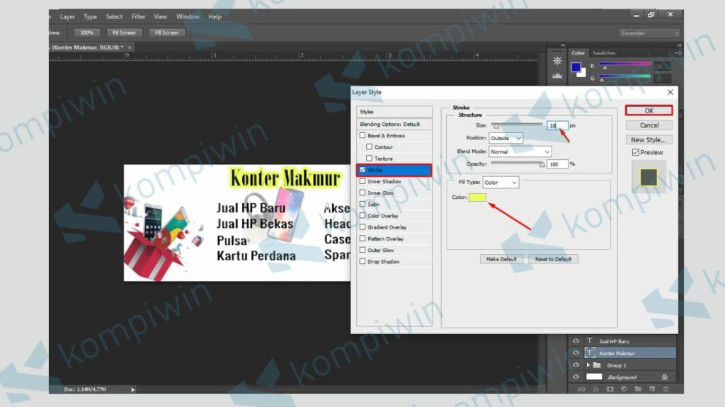 Gunakan Stroke pada Teks - Cara Membuat Banner di Photoshop