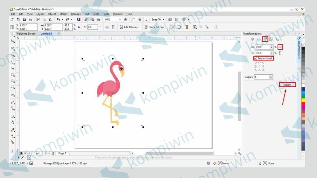 Ikuti Langkah pada Gambar dan Tekan Apply - Cara Membalik Gambar di Corel