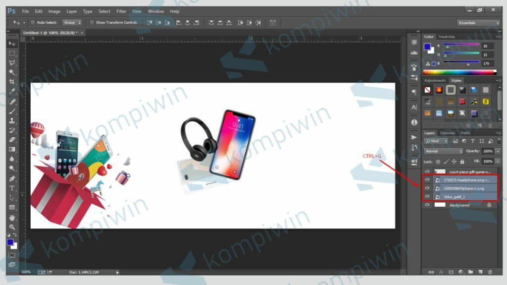 Jadikan Semua Gambar dalam 1 Group - Cara Membuat Banner di Photoshop