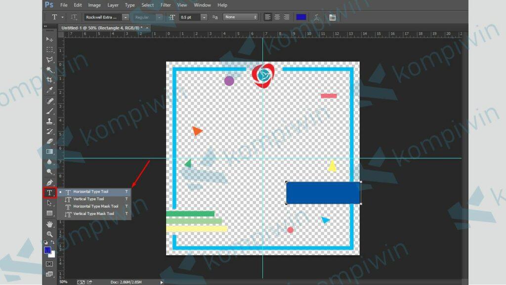 Jika Desain Selesai, Masukkan Teks dengan Horizontal Text Tool - Cara Membuat Twibbon