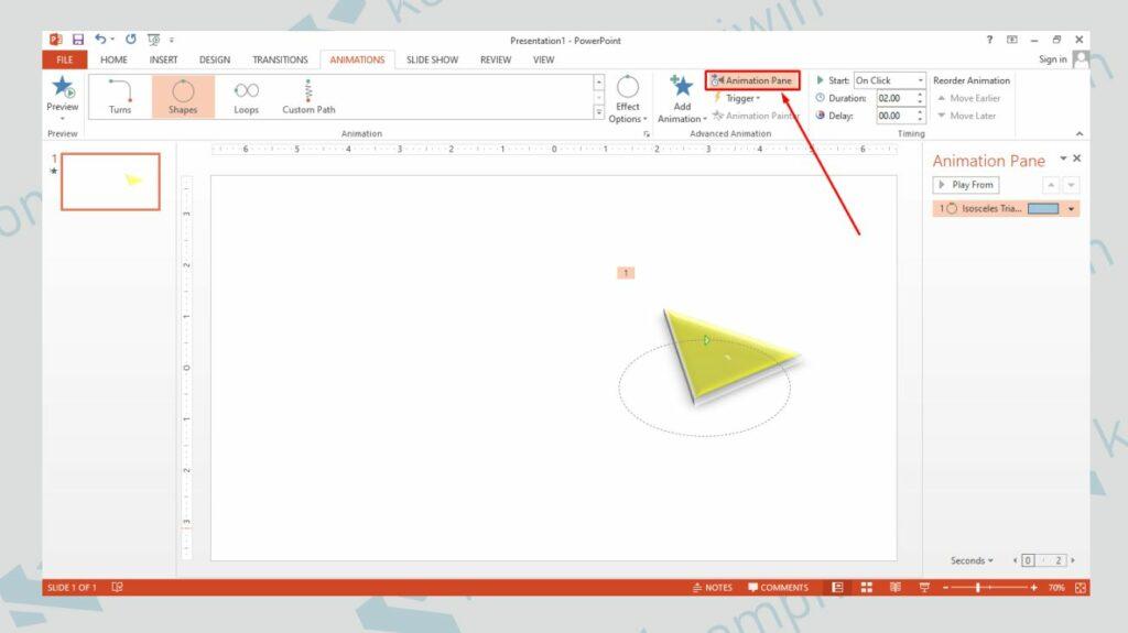 Klik Animation Panel untuk Mencoba Efek Animasi - Cara Membuat Animasi Bergerak di PowerPoint