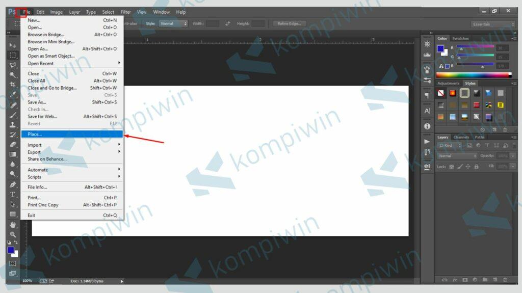 Klik File dan Pilih Place - Cara Membuat Banner di Photoshop