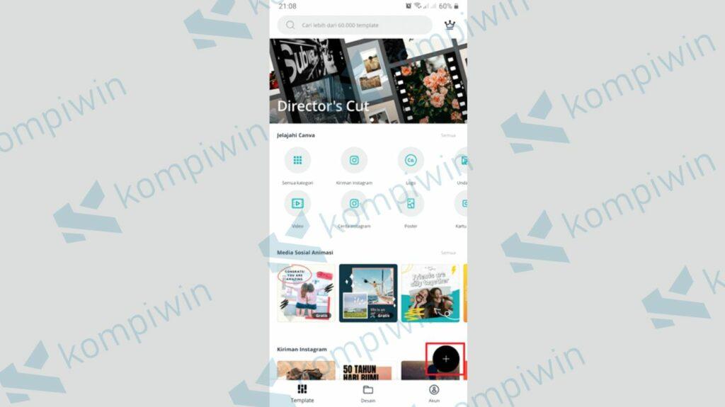 Klik Icon + - Cara Membuat Twibbon dengan Canva