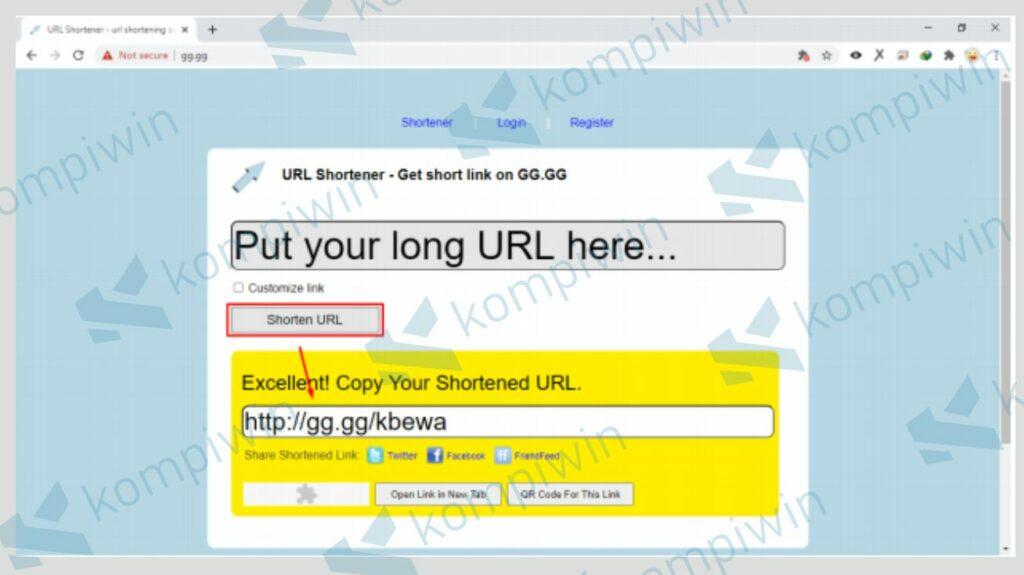 Klik Shorten Url untuk Memperpendek Link dengan gg.gg - Kompiwin