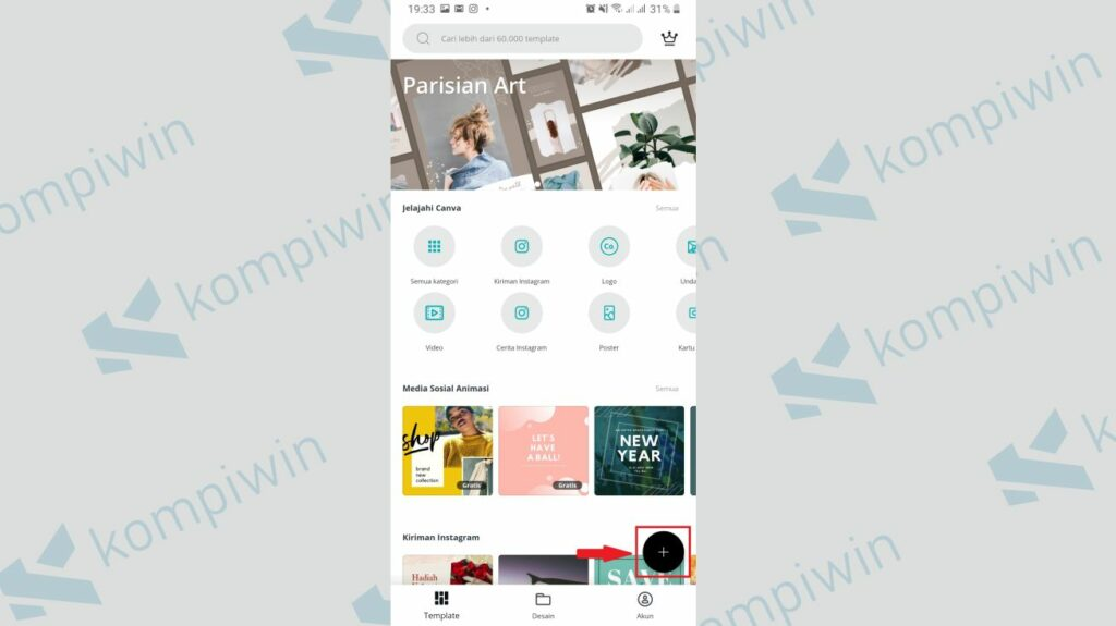 Klik Tanda + Bagian Kanan Bawah - Cara Menggabungkan Twibbon dengan Foto menggunakan Canva