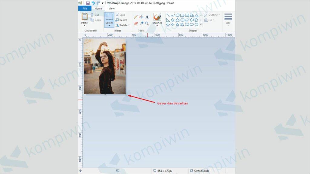 Lebarkan Lembar Kerja Paint - Cara Print Foto 3x4 di Paint