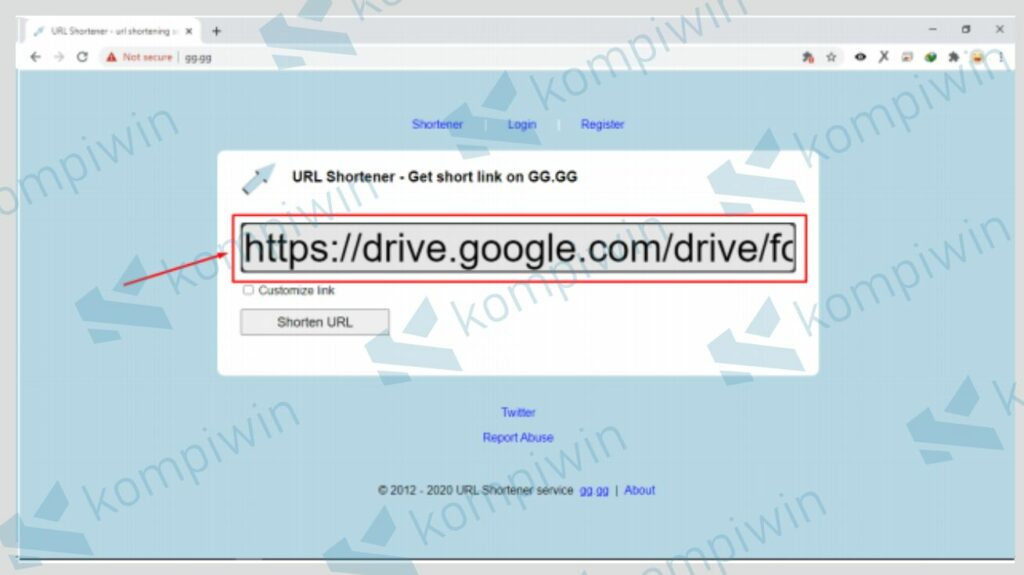 Masukkan Link yang Akan Diperpendek dengan gg.gg - Kompiwin