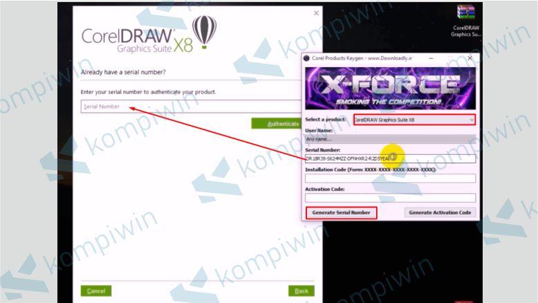 Masukkan Serial Number Corel X8 dari Keygen - Cara Mengatasi Corel X8 Tidak Bisa Diinstall