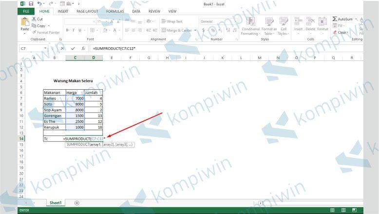 Masukkan Tanda Bintang - Cara Menghitung Total Bayar Di Excel