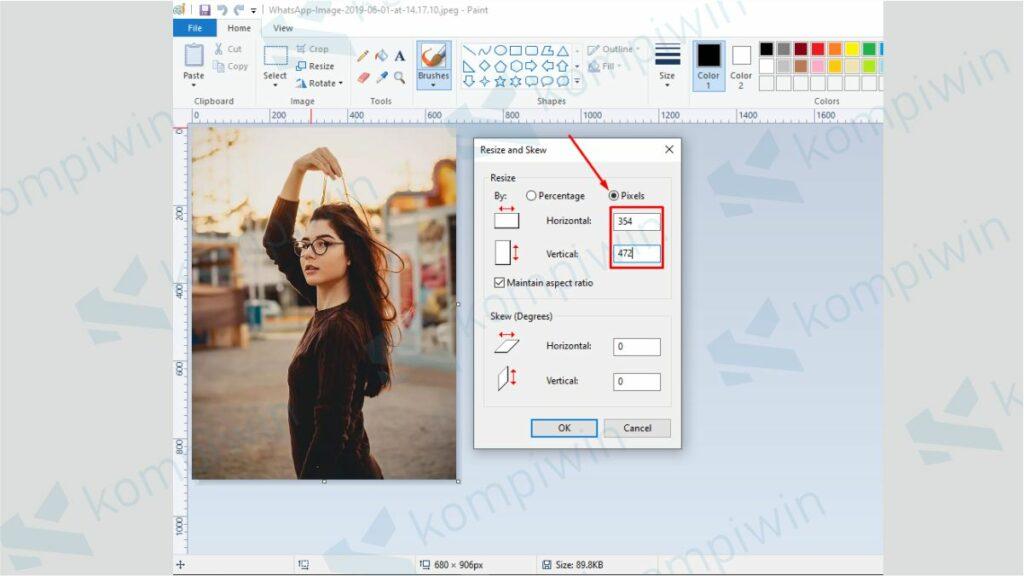 Masukkan Ukuran 3x4 dalam Pixels - Cara Mengubah Ukuran Foto ke 3x4 di Paint