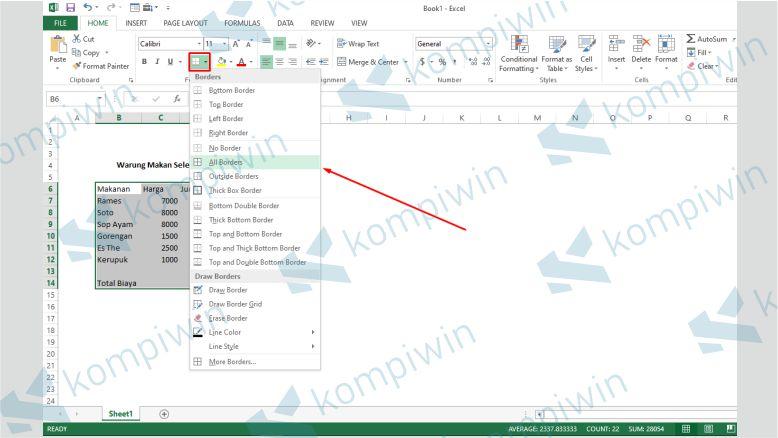 Modifikasi Border Tabel Excel - Cara Menghitung Total Bayar Di Excel