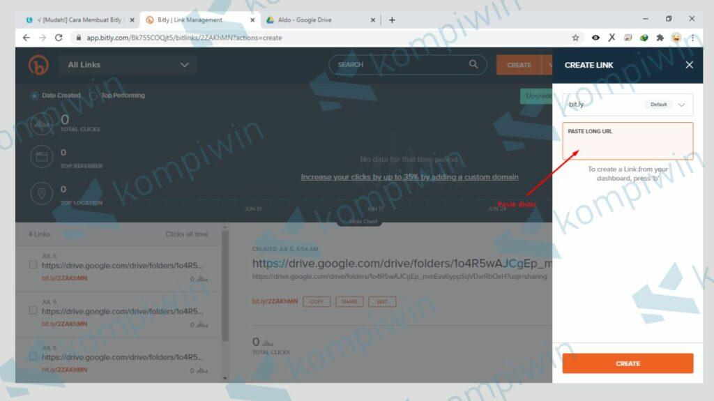 Paste Link yang Akan Diperpendek dengan Bit.ly - Kompiwin