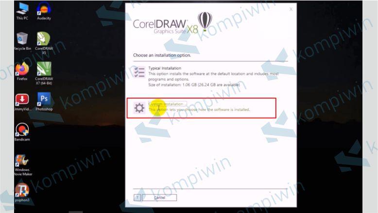 Pilih Custom Installation - Cara Mengatasi Tidak Bisa Install Corel X8