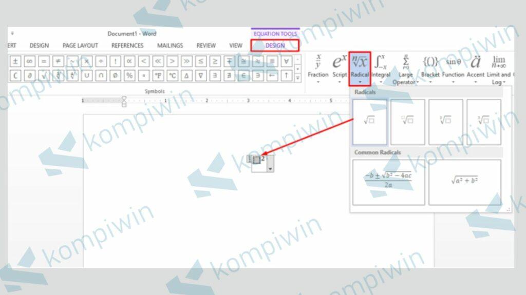 Pilih Design dan Klik Radical - Cara Membuat di Microsoft Word