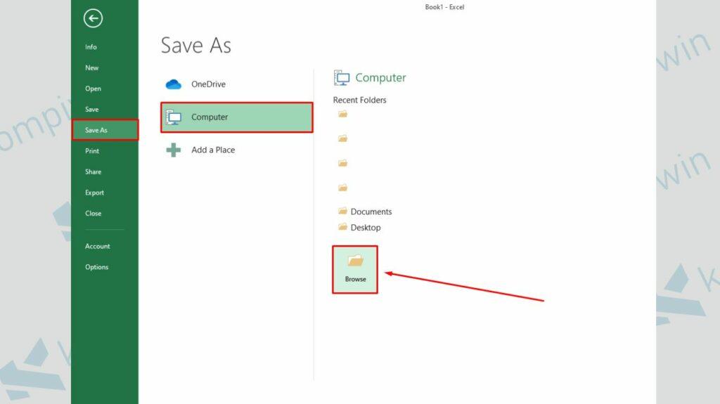 Pilih Lokasi Folder untuk Menyimpan File Excel - Cara Membuat Password untuk Membuka dan Memodifikasi File Excel