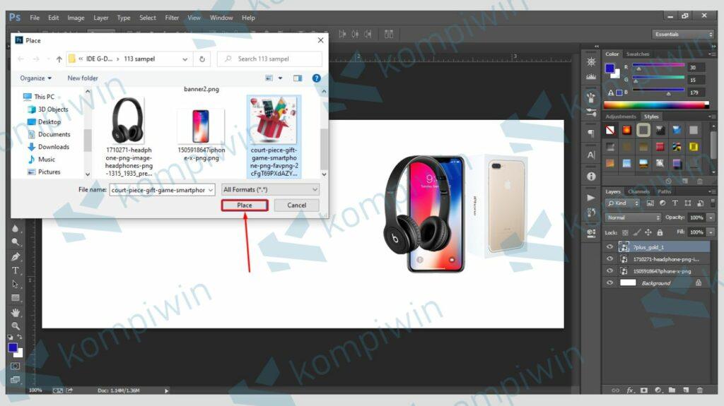 Sesuaikan Posisi Gambar - Cara Membuat Banner di Photoshop