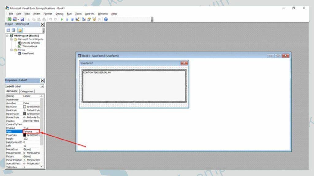 Sesuaikan Ukuran Font - Cara Membuat Running Text di User Form Excel