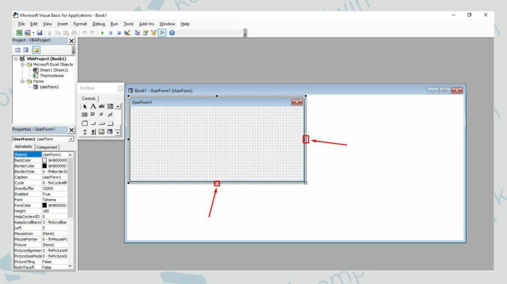 Sesuaikan Ukuran UserForm - Cara Membuat Running Text di User Form Excel