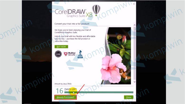 Silahkan Klik Already Purchased - Cara Mengatasi Corel X8 Tidak Bisa Diinstall