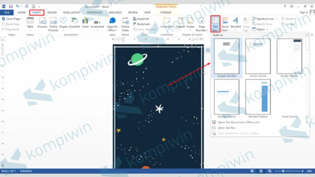 Sisipkan Text Box untuk Mengisi Konten - Cara Membuat Poster di Word