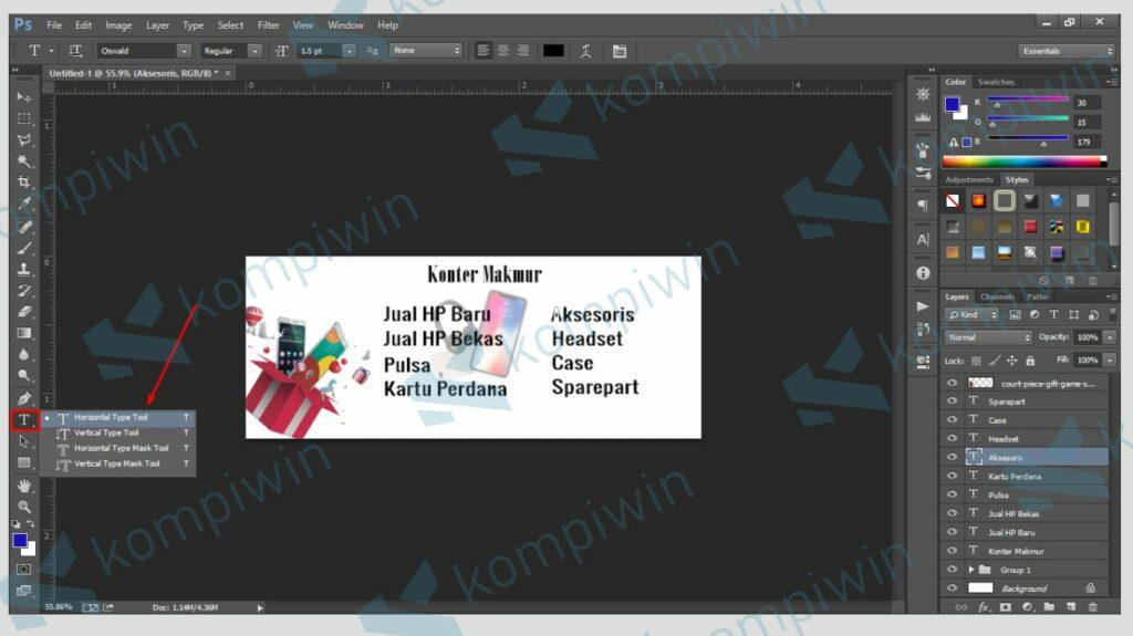 Tambahkan Teks ke dalam Banner - Cara Mudah Membuat Banner di Photoshop