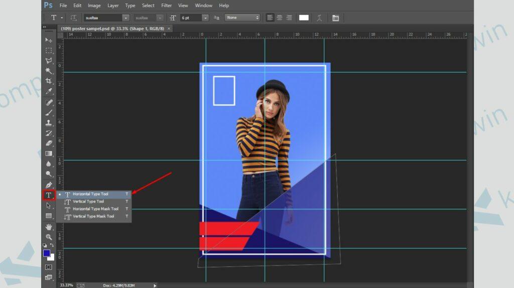 Tambahkan Teks pada Poster - Cara Membuat Poster di Photoshop