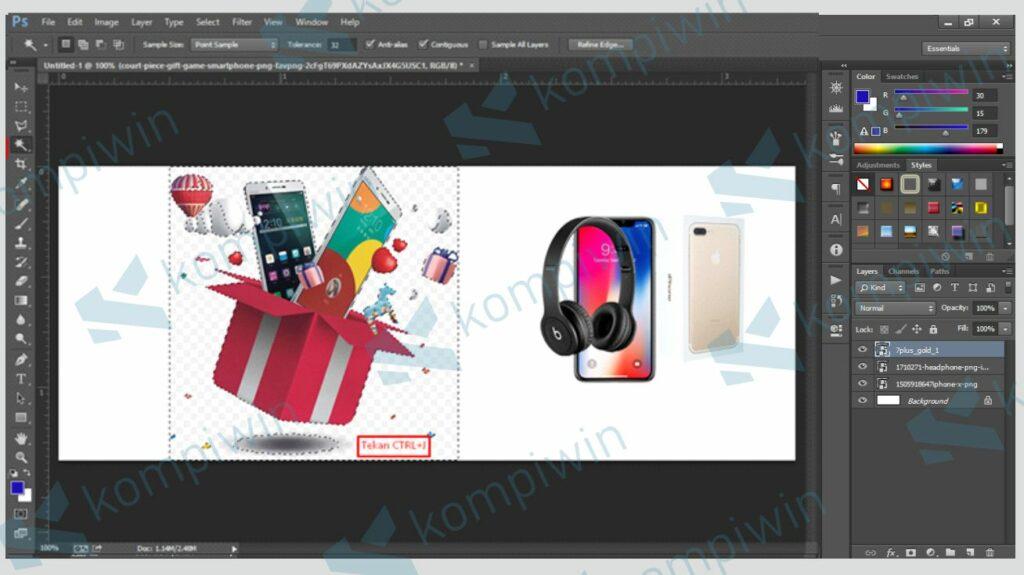 Tekan CTRL + J - Cara Membuat Banner di Photoshop