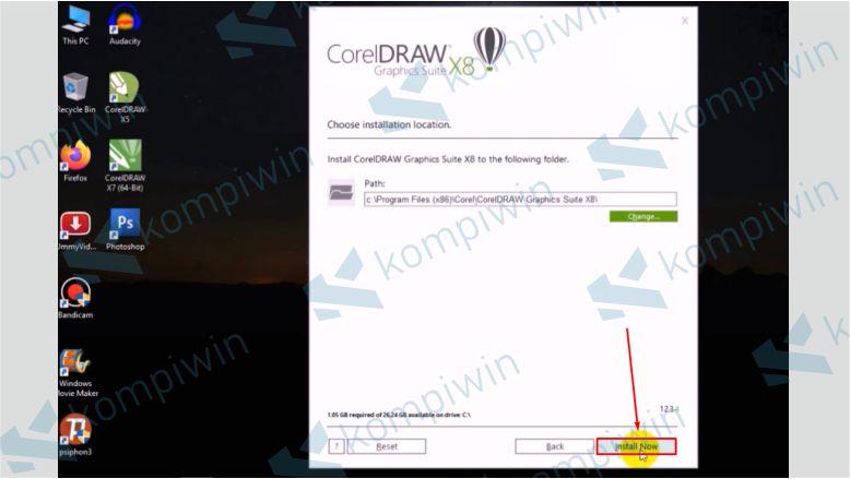 Tentukan Destinasi Folder dan Klik Install Now - Cara Mengatasi Corel X8 Tidak Bisa Diinstall