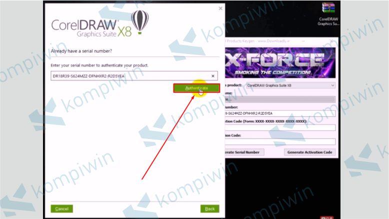 Terakhir Klik Authenticate - Cara Mengatasi Corel X8 Tidak Bisa Diinstall